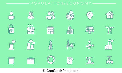 Collection of green line icons on the alpha channel on the theme of Population and Economy.