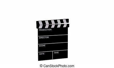 Animated film clapboard on white background