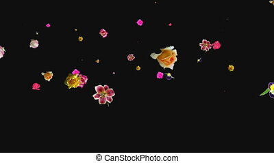 Animated flowers flying throu you