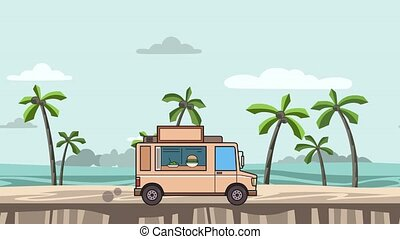 Animated food truck riding on the beach. Moving vehicle on...