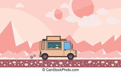 Animated food truck riding through alien planet desert....