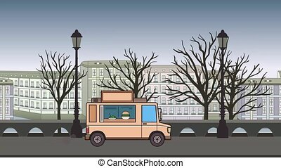 Animated food truck riding through autumn city. Moving...