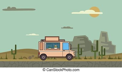 Animated food truck riding through canyon desert. Moving vehicle on landscape background. Flat animation.