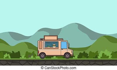 Animated food truck riding through green valley. Moving...