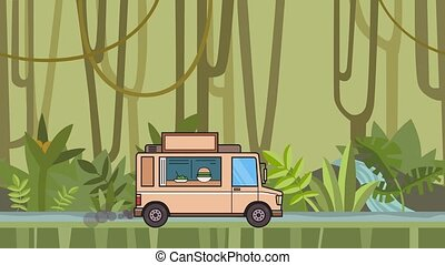 Animated food truck riding through tropical rainforest....