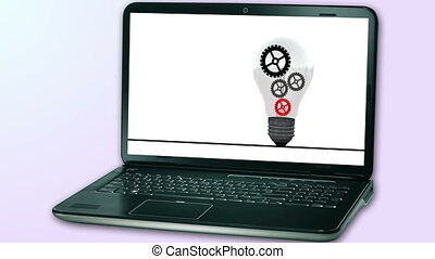 animated gears idea animation for background on notebook computer