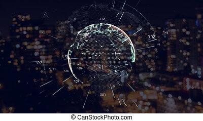 Animated globe against city at night