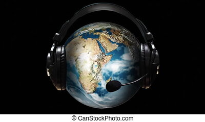 Animated Globe with earphones on it - Animated HD Globe with...
