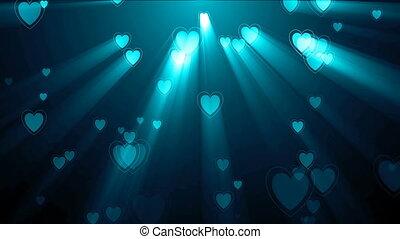 Animated glowing Hearts. Seamless loop