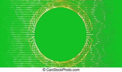 Animated gold frame on green background