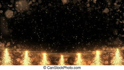Animated Golden Christmas Fir Tree Star background seamless loop 4k resolution.