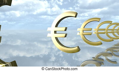 Animated golden Euro money signs loop-able. 3d rendering 4K...