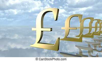 Animated golden pound money signs in a row. 3D rendering 4K