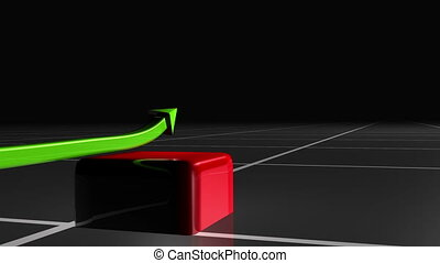 Animated graphic showing growth with a green arrow against a black background