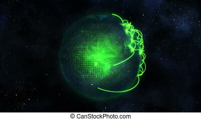 Animated green planet globe with connections in space