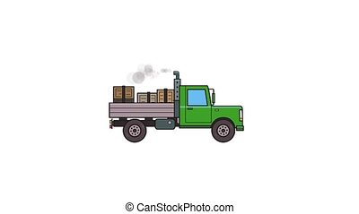Animated green truck with boxes in the trunk. Moving heavy car, side view. Flat animation. Isolated on white background.