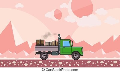Animated green truck with boxes in the trunk riding through alien planet desert. Moving heavy car on pink mountain desert background. Flat animation.