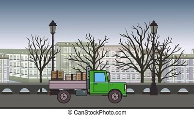 Animated green truck with boxes in the trunk riding through autumn city. Moving heavy car on cityscape background. Flat animation.