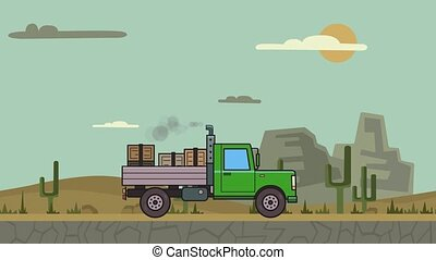 Animated green truck with boxes in the trunk riding through canyon desert. Moving heavy car on mountain desert background. Flat animation.