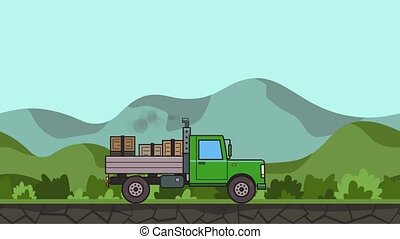 Animated green truck with boxes in the trunk riding through green valley. Moving heavy car on rural landscape background. Flat animation.