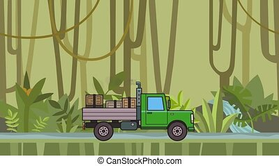 Animated green truck with boxes in the trunk riding through rainforest. Moving heavy car on jungle and river background. Flat animation.