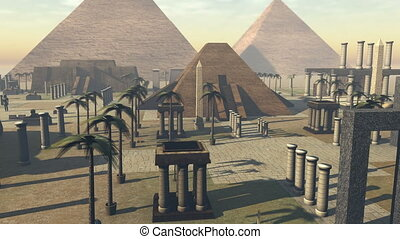 Animated growing ancient archeology of Egypt. 4K - 3D...