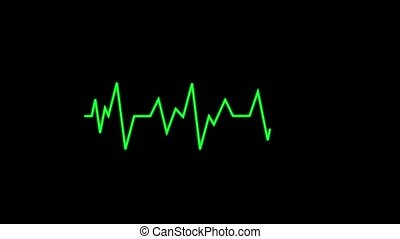 Animated heart monitor EKG line - Green life pulse on black...