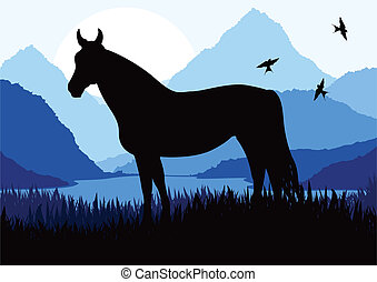 Animated horse in wild nature landscape illustration