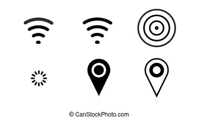Animated icon wi-fi, gps pin, radio waves. Alpha channel...