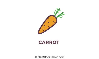 Animated icons of vegetables on white background