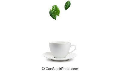 cup of tea - animated image, tea leaves falling into cup of...