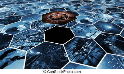 Animated image wall in honeycomb pattern connecting the world. 3D rendering 4K