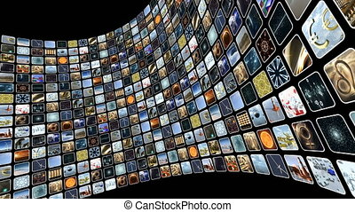 Animated image wall with many icons on screen. Loop-able. 3D rendering 4K