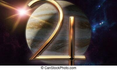 Animated jupiter zodiac horoscope symbol and planet. 3D...