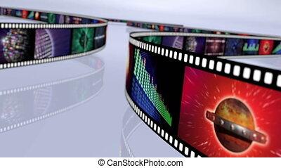 Animated loop-able rotating film reels. Multicolor 4K - Loop...