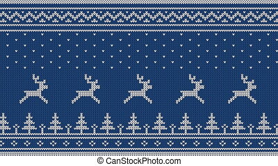 Animated looped knitted ornament. Running deer over the...