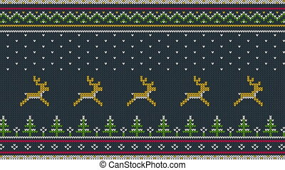 Animated looped Northern knitted ornament for sweeter with deer running over the spruce forest, national patterns and falling snow.