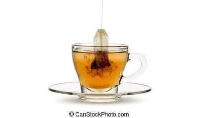 tea bag - Animated looping image, tea bag in infusion into ...