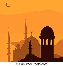Animated magic Turkish city Istanbul. Ramadan. illustration
