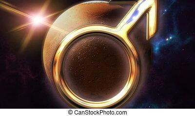Animated mars zodiac horoscope symbol and planet. 3D...