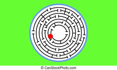 Animated maze. The red object comes to the middle of the...