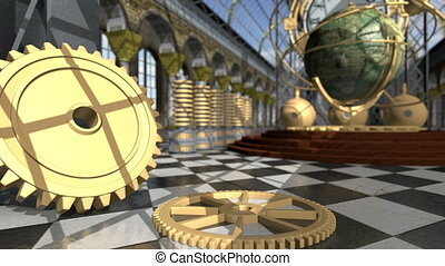 Animated mechanical devices in victorian interior. 3D...