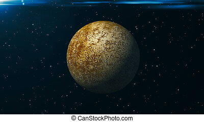 Animated Mercury planet. Abstract space background