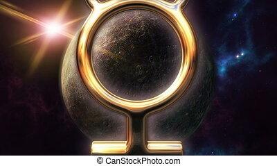 Animated mercury zodiac horoscope symbol and planet. 3D...