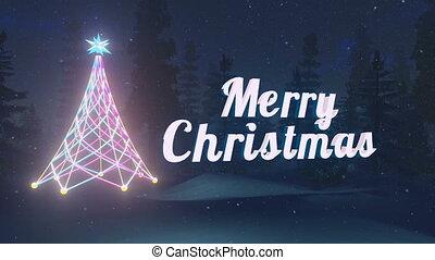 Animated Merry Christmas text near the illuminated Christmas...