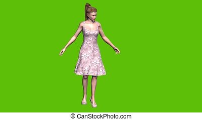 animated model on a green background presenting something for sale