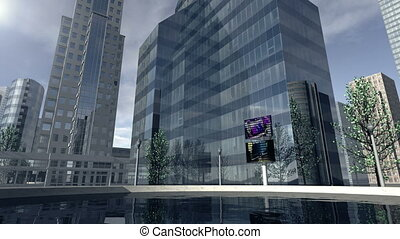 Animated modern business company district 4K - An animation...