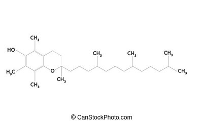 Animated molecular structure of Vitamin E (tocopherol)....