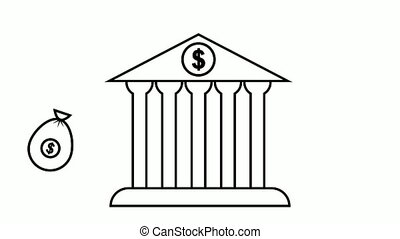 animated money bags are flying into bank building. Cash deposit to bank account. Safe storage of funds. Video