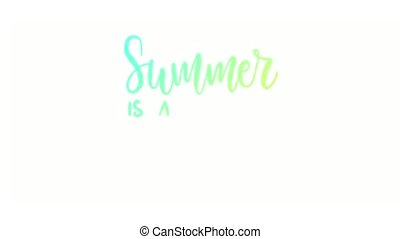 Animated multicolor texured summer lettering inscription....